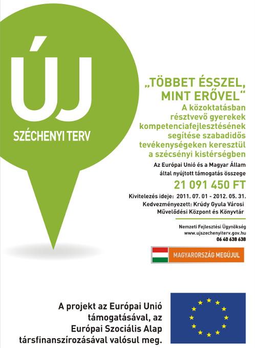 """TÁMOP-3-2-1.1/10-1-2010-0261 - """"TÖBBET ÉSSZEL, MINT ERŐVEL"""" - A közoktatásban résztvevő gyerekek kompetenciafejlesztésének segítése szabadidős tevékenységeken keresztül a szécsényi kistérségben"""
